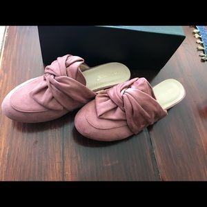 Chase + Chloe mauve suede mule slide 7 new in box
